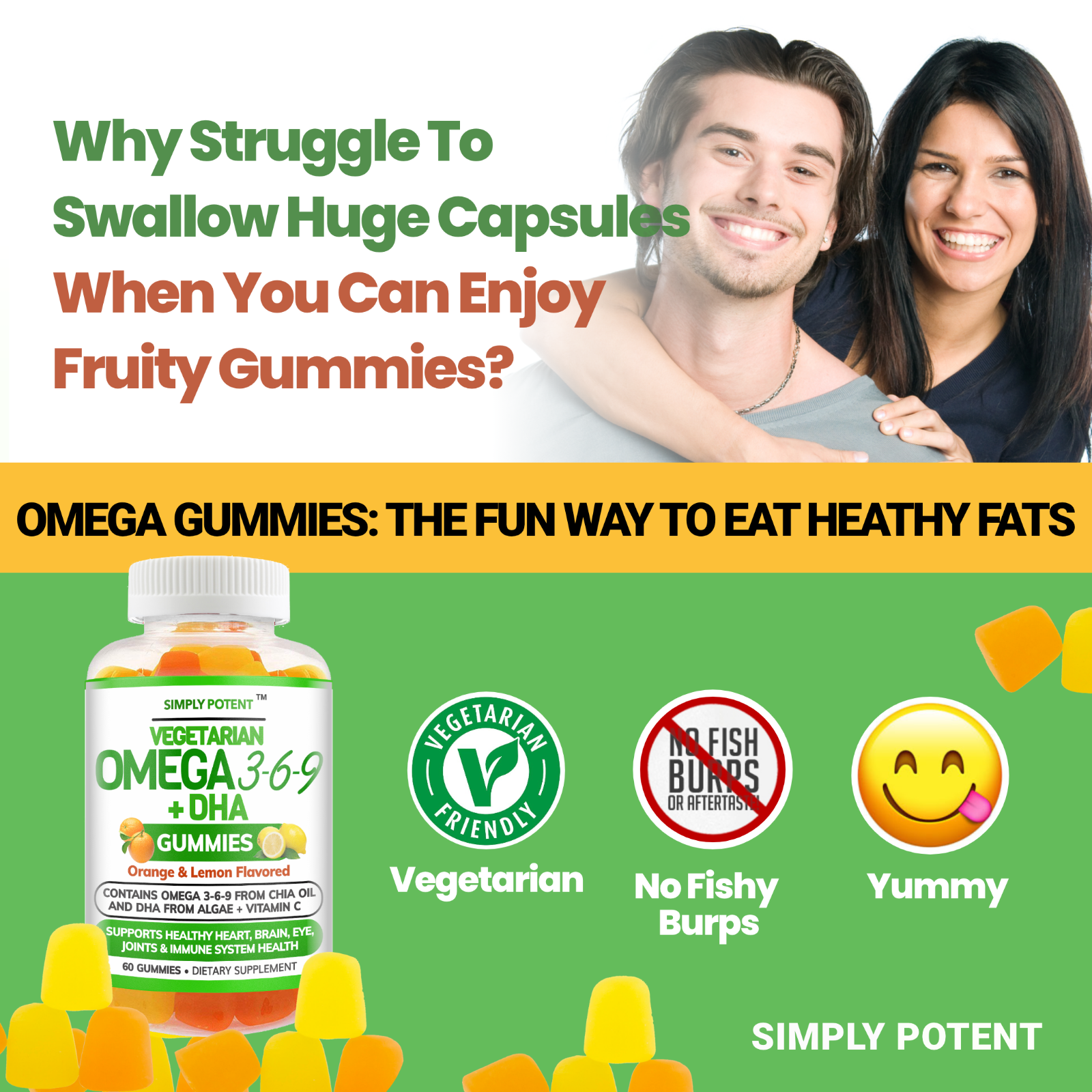 Omega 3 6 9 + DHA + Vitamin C Fish-Free Gummies for Brain, Heart, Joint Support 3