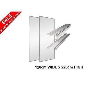 2 Sliding Wardrobe Doors & Tracks Mirror White Frame Stanley Design 120cm wide