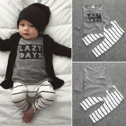 Neugeborene Kinder Baby Jungen Mädchen Outfit Kleidung Pullover T-Shirt Top Hose
