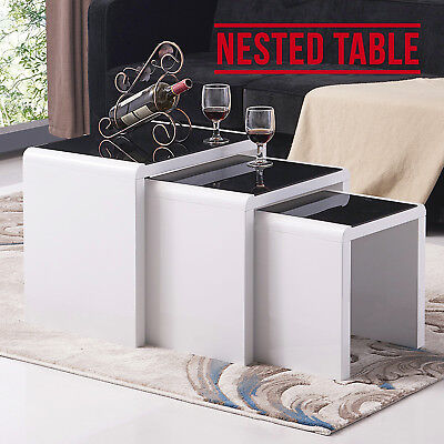 High Gloss White + Black Glass Nest of 3 Coffee Tables Living Room Furniture