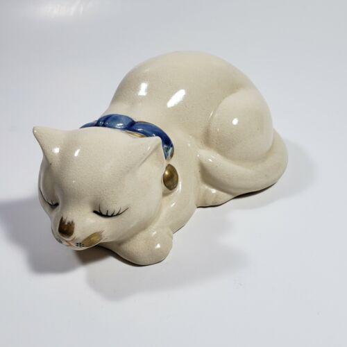 "Vintage Japan Porcelain Sleeping White Cat Figure Blue Collar 5"""