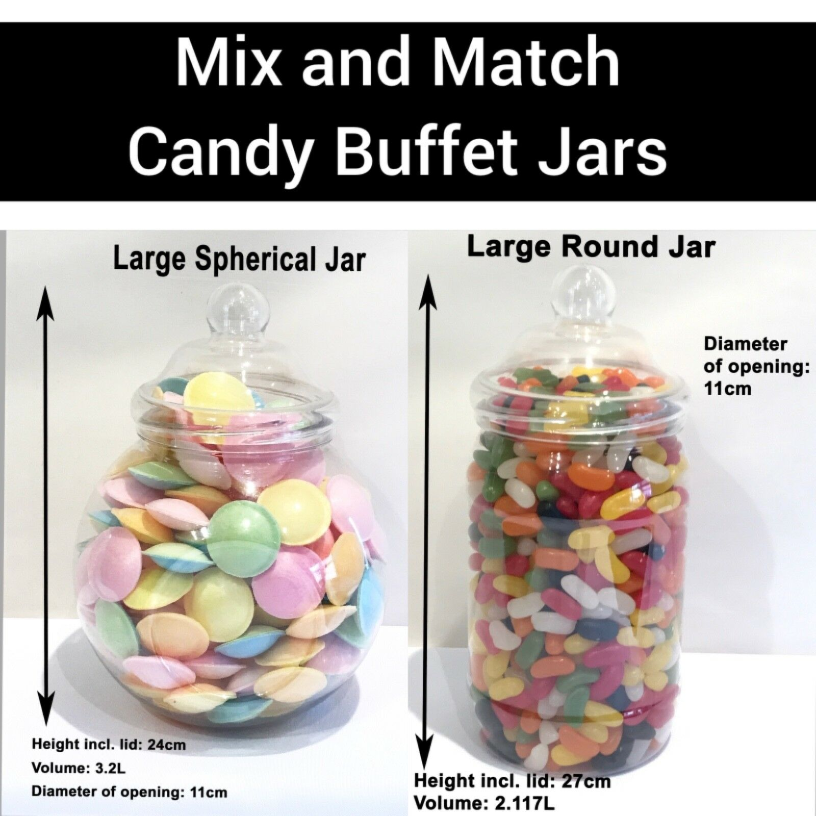 Large Plastic Sweet Jars Diy Candy Sweet Buffet Wedding Party You Choose Ebay