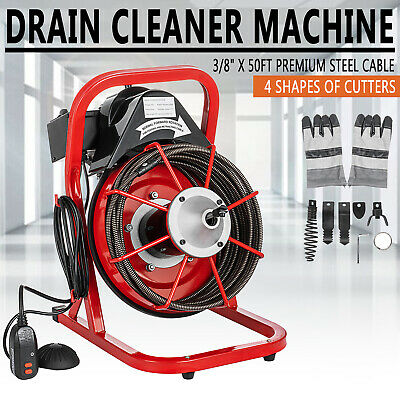 50ft X 38 Electric Drain Auger Drain Cleaner Machine 250w Sewer Snake Wcutter