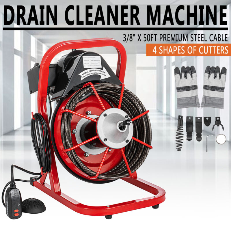 """50FT x 3/8"""" Electric Drain Auger Drain Cleaner Machine 250W Sewer Snake W/Cutter"""