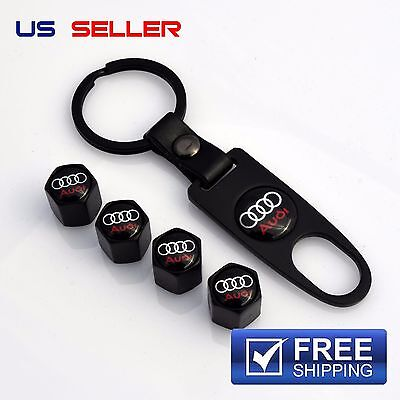 AUDI VALVE STEM CAPS  KEYCHAIN WHEEL TIRE BLACK   US SELLER VS03