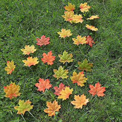 500 pc mix colors Fall Silk Leaves Wedding Favor Autumn Maple Leaf Decorations