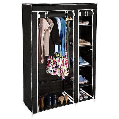 Kleiderschrank aus Stoff Stoffschrank Faltschrank Schrank Textilschrank schwarz