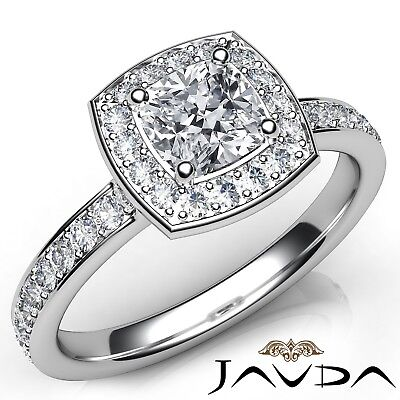 1.31ctw Halo Pave Set Wedding Cushion Diamond Engagement Ring GIA I-VVS2 W Gold