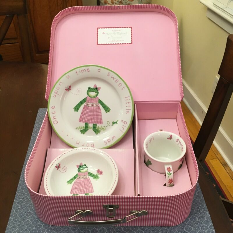 Kelly B. Rightsell 3-piece Child Dish Set in Pink Gingham Suitcase, DARLING!