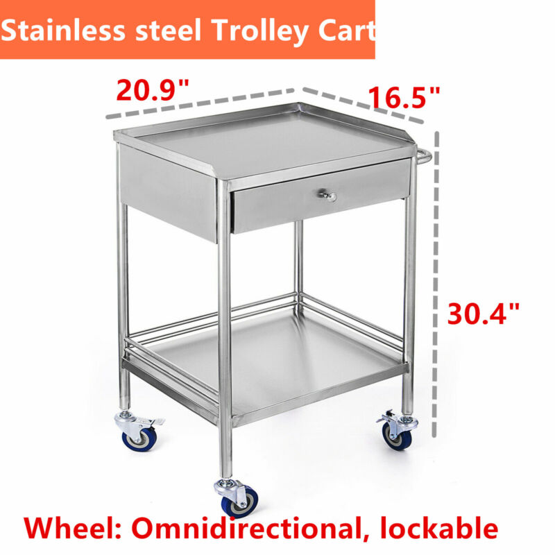 Stainless Steel 2 Layers Serving Lab Cart Trolley Drawer