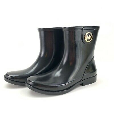 Michael Kors MK Benji Rain Boots Bootie Mid Calf Black Size 8 -