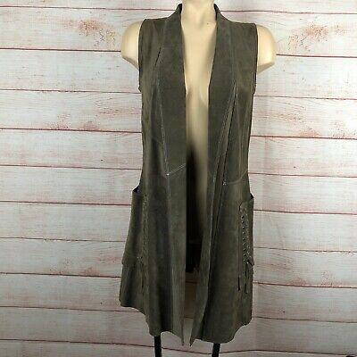 Sylvie Schimmel Paris Goat Leather Long Western Inspired Vest Sz 36 2 US B045
