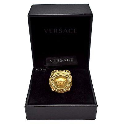NWT $375 Gianni Versace Large Matte Gold Medusa Greek Key Logo Ring 21 AUTHENTIC