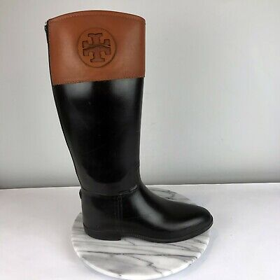 Tory Burch Diana Womens Size 9 Black Rubber Brown Leather Tall Rain Boots