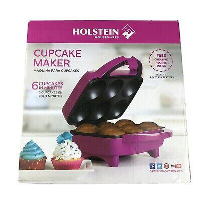 Holstein Housewares Cupcake Maker HF-09013M Full Size Fun, Makes 6, Magenta NOB