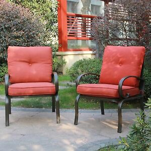 Set Of 2 Outdoor Dining Chair Patio Club Seating Chair With Brick Red  Cushions