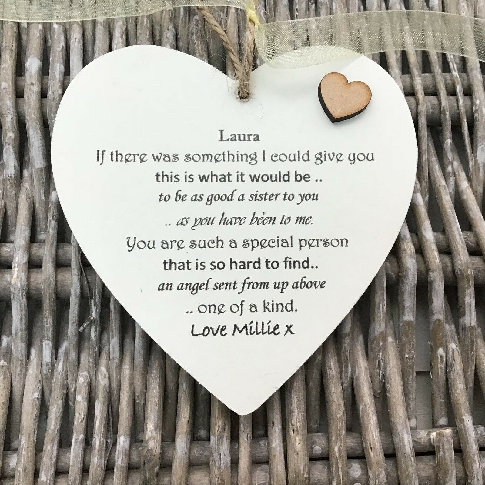 Shabby personalised Gift Chic Heart Plaque Special SISTER Present ANY NAMES Gift - 253984873091