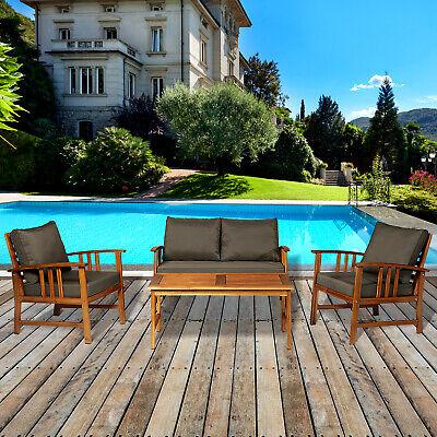 4pcs Acacia Wood Chat Set Conversation Set Patio Furniture w/ Cushions