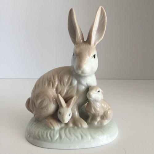 Rabbit Figurine Statue Porcelain Brown Bunnies Bunny Family Easter Glass Animal