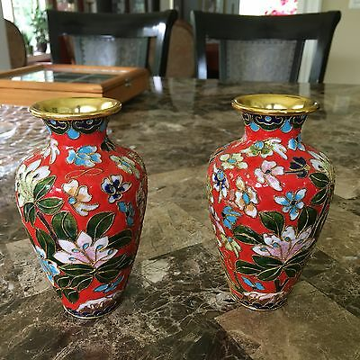 """Vintage Chinese Cloisonné Vases 5"""" high by 3"""" wide Gorgeous red set of 2"""