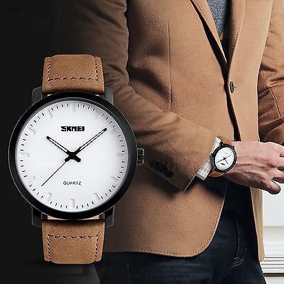 SKMEI Fashion Mens Brown Leather Stainless Steel Quartz Casual White Sport Watch