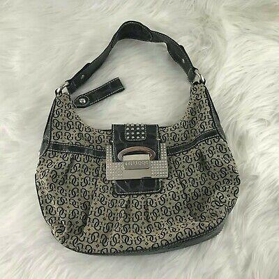 Guess Purse Hand Bag Black/Tan Silver Details 10