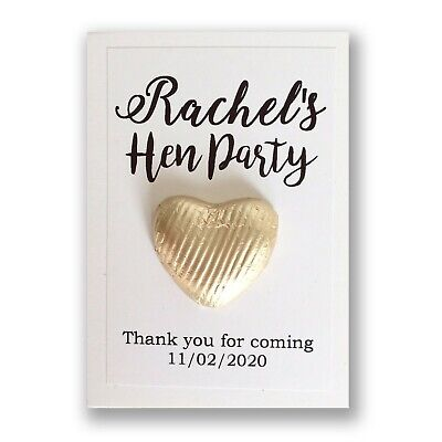 10 X Personalised Hen Party Favor Gold Chocolate Coin Thank You Card Hen Do