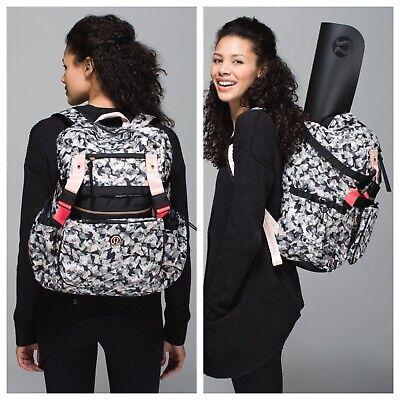 Lululemon Travelling Yogini Women's Rucksack Backpack Black Pink Mystic Jungle