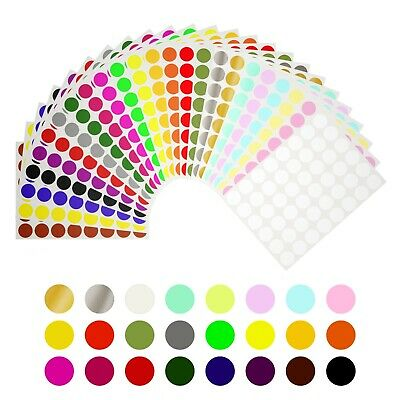 Round Dot 12 Inch Stickers 13mm Color Coding Marking Adhesive Labels 1200 Pack