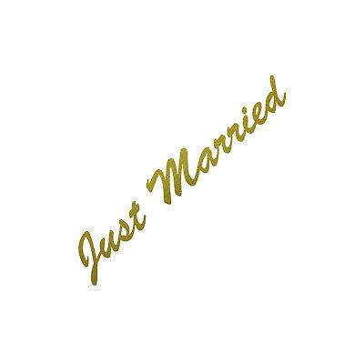 Just Married 30cm Oro Pegatina Tatuaje Boda Decoración Lámina Auto Trasero Disco
