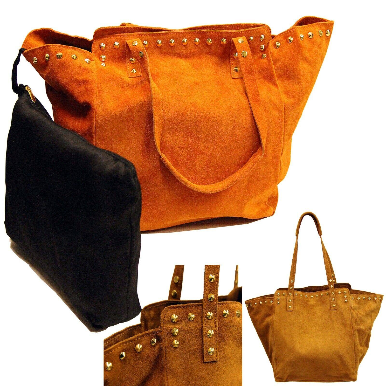 Damen Handtasche Leder Echtleder Luxus klein groß Nieten 2er Set Umhängetasche