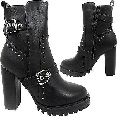 Womens High Heel Platform Studs Buckle Straps Ankle Boots Shoes Size Zip Up New Buckle Womens High Heel