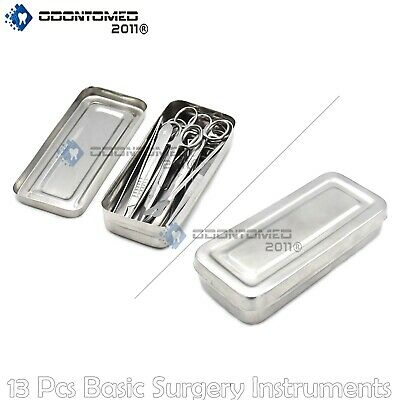 13 Pcs Basic Minor Surgery Kit Stainless Steel Box Surgical Instruments Ds-1290
