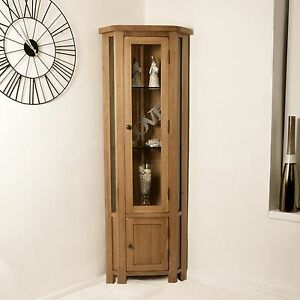 Rustic-Solid-Oak-Display-Cabinet-Glazed-Corner-Cupboard-Home-Furniture