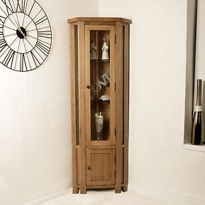 Rustic Solid Oak Display Cabinet Glazed Corner Cupboard Home Furniture