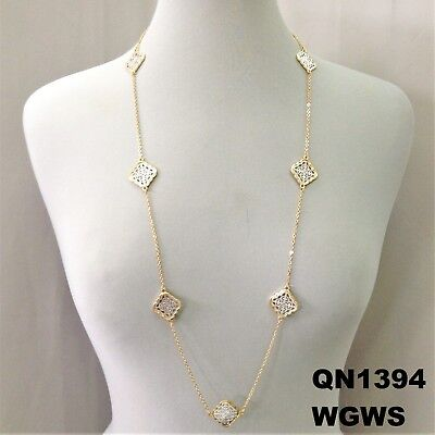 Duo Finish Clover Shape Filigree Cut Out Charms Designer Inspired Long Necklace (Shape Filigree Design)
