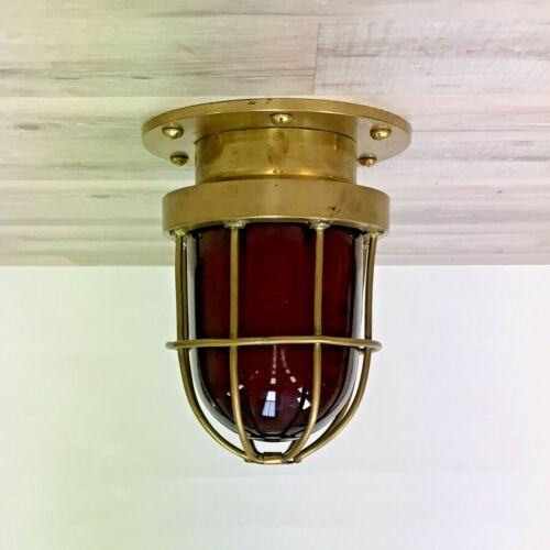 Small Red Glass Brass Nautical Caged Ceiling Light