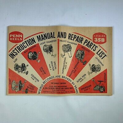 other penn reels catalog trainers4mevintage penn reels catalog 35b instructions manual and repair parts list 1973