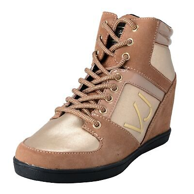 Versace Jeans Women's Lace Up Suede Leather Wedge Sneakers Shoes size 6