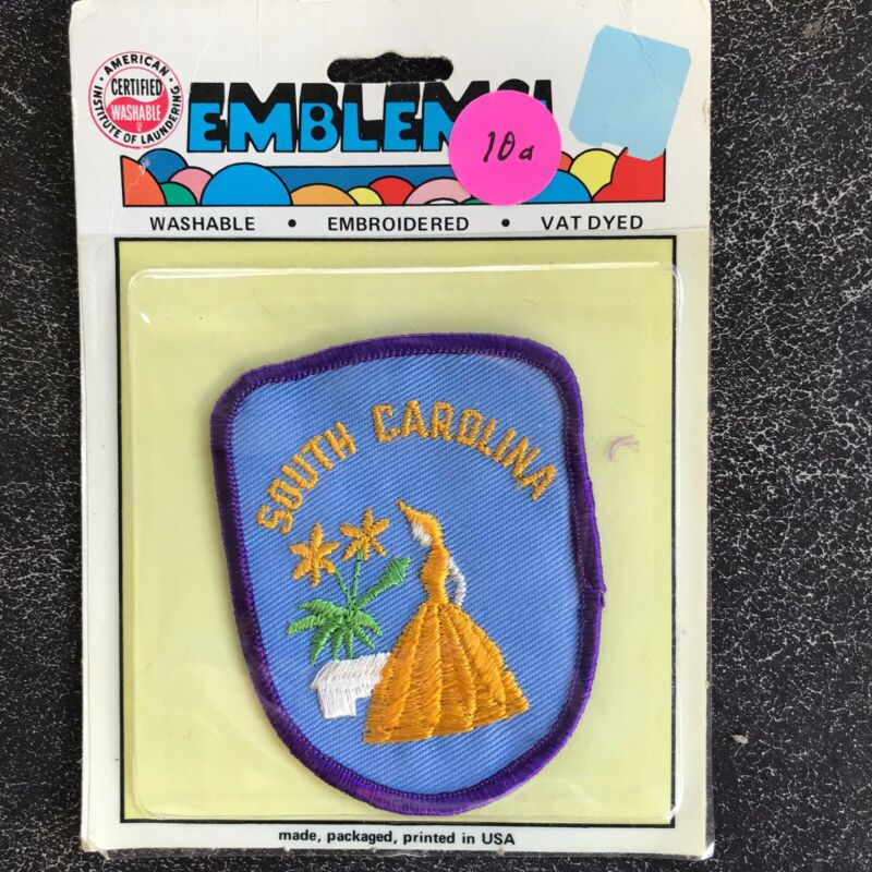 Vintage 1970's South Carolina State Embroidered PATCH NEW  NIP 3 Inch