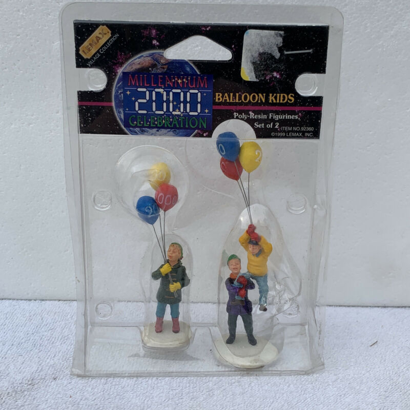 Lemax Balloon Kids millennium 2000 Set of 2 Figurines