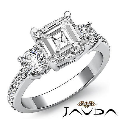Asscher Diamond Delicate Three Stone Engagement Ring GIA H VS2 Platinum 1.4 ct