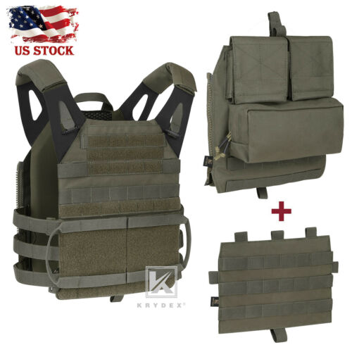 KRYDEX JPC 2.0 Jump Plate Carrier Tactical Vest & Zip-on Back Pack Ranger Green