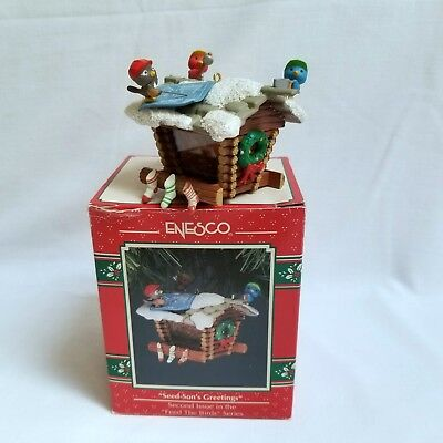 Vintage Enesco Seed-Son's Greetings Christmas Ornament Feed The Birds Series 2nd