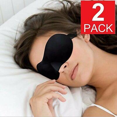 2 Pack Travel 3D Eye Mask Sleep Soft Padded Shade Cover Rest Relax Blindfold Health & Beauty