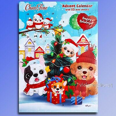 Dogs Xmas Advent Calendar With Chocolate Christmas Calendar 25