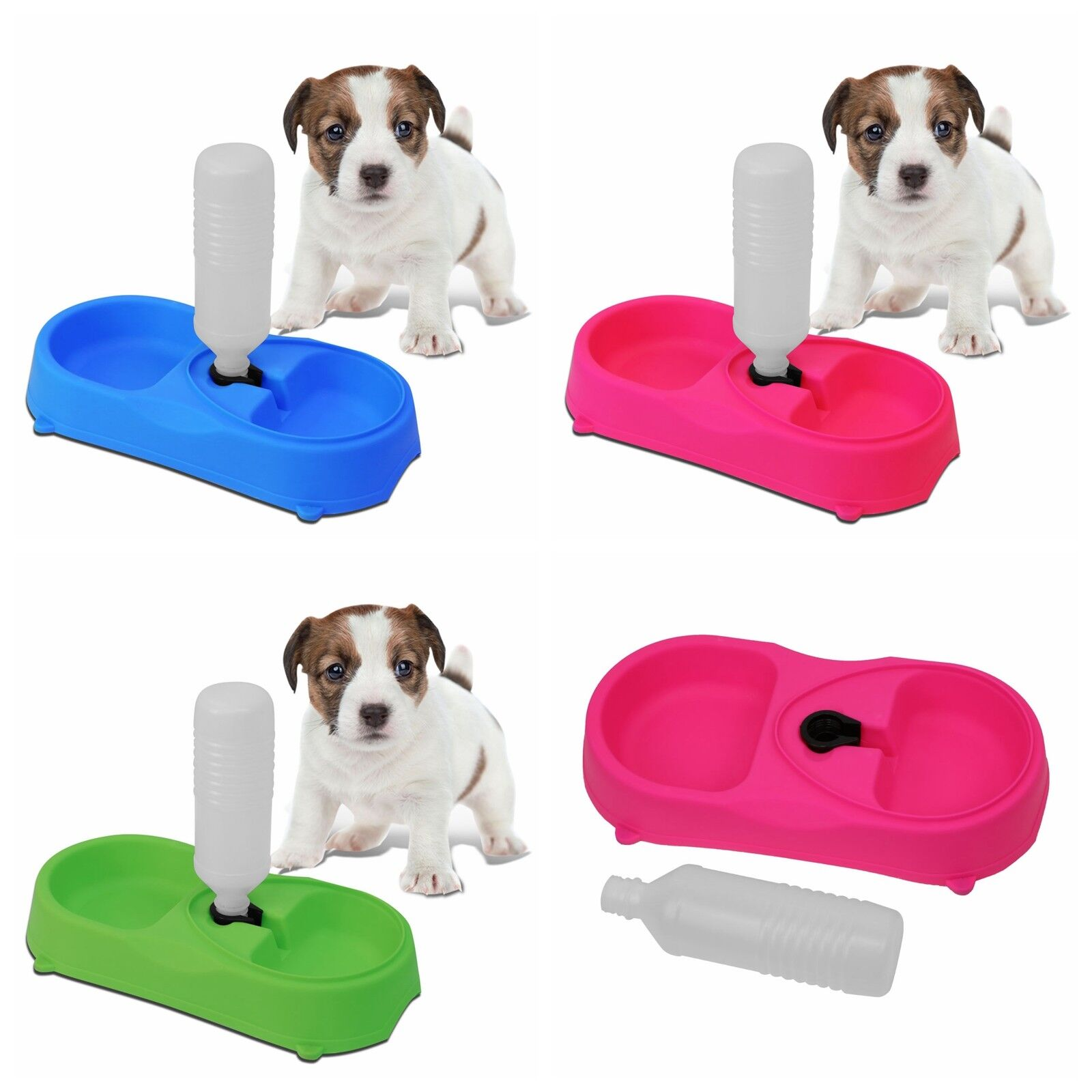 Pets Bowls Food Water Bowl Feeder Dispenser with Water Bottle Non-Slip Base