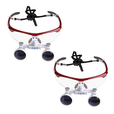 2pc Dental Surgical Medical Binocular Loupes Magnifying Glasses 3.5x420mm Red