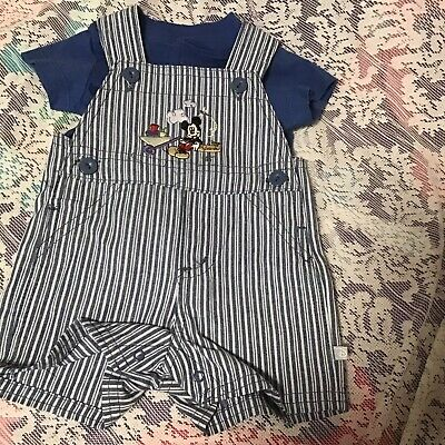 Disney Mickey Mouse Boys 2 Piece Shirt & Overall Short Set Size Newborn 2 Piece Overall Short