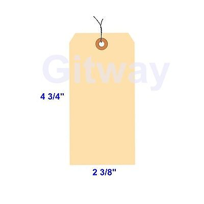 1000 Of 4 34 X 2 38 Size 5 Manilla Shipping Hang Tag Tags With Wire 13 Pt